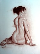 Tasteful Art Pastels Posters - Asian Pear Nude Poster by Doyle Shaw