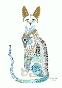 Extinct And Mythical Mixed Media Metal Prints - Asian Porcelain Cat Metal Print by Jennifer  Anne Esposito