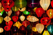 Paper Lantern Photos - Asian Silk lanterns by Fototrav Print
