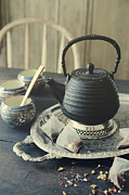 Sandra Cunningham - Asian teapot with cups and herbal bags of tea