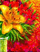 Oleanders Paintings - Asiatic Lilies And Oleanders by Christine Fanous