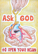 Ny Ny Drawings Posters - Ask God to open your heart Poster by Yelena Kochetova