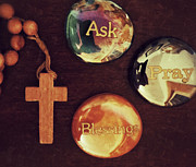 Rosary Posters - Ask Pray Blessings Poster by Patricia Januszkiewicz