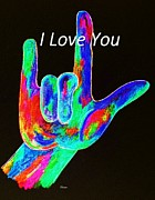 Spell Mixed Media Posters - ASL I LOVE YOU on Black Poster by Eloise Schneider