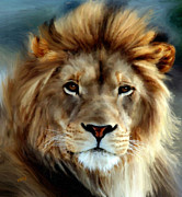 Valerie Anne Kelly Art Framed Prints - Aslan Framed Print by Valerie Anne Kelly