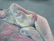 Young Woman Pastels Prints - Asleep in the Moonlight  Print by Asha Carolyn Young