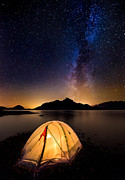 Tent Posters - Asleep under the Milky Way Poster by Alexis Birkill