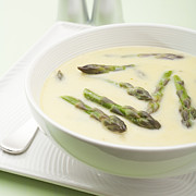 Creamy Posters - Asparagus Soup Poster by Colin and Linda McKie