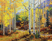 Autumn Foliage Painting Prints - Aspen Cabin Print by Gary Kim