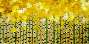 Foliage Mixed Media Prints - Aspen Colorado Abstract Panorama Print by Andee Photography