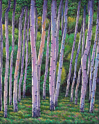 Birch Trees Paintings - Aspen Enclave by Johnathan Harris