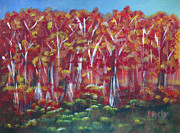 Fall Season Painting Posters - Aspen Fall Poster by Donna Blackhall