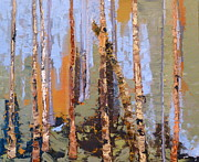 Oil Drawings Originals - Aspen Forest Colorado by Susan A Becker