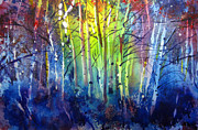 Wyoming Paintings - Aspen Grove by Kris Parins