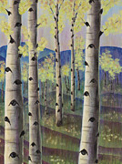 Aspen Tree Paintings - Aspen Hills II by Elizabeth Golden