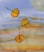 Silk Tapestries - Textiles Metal Prints - Aspen In Fall Metal Print by Carolyn Doe