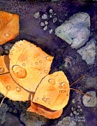 Yellow Leaves Painting Posters - Aspen Leaves Poster by Marie Stone Van Vuuren