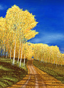 Fall Leaves Pastels Posters - Aspen Road Poster by George Burr