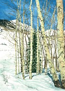Winter Scene Paintings - Aspen Shelter by Barbara Jewell