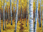 Aspen Trees Paintings - Aspen Trail by Aaron Spong