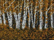 Gail Matthews Metal Prints - Aspen trees Ablaze Metal Print by Gail Matthews