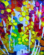 Hiker Paintings - Aspen Walk by Mt Lee