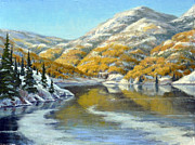 Colorado Mountain Stream Paintings - Aspens First Snow by Rick Hansen
