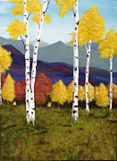 Landscape With Mountains Framed Prints - Aspens Framed Print by Holly Bean