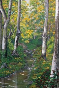 Beautiful Creek Painting Originals - Aspens in the Fall by Sharon Duguay