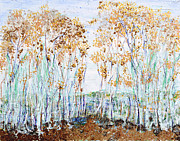 Abstracted Trees Reliefs Prints - Aspens Print by Regina Valluzzi
