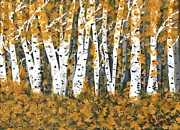 Artstic Posters - Aspens Trees Bright in Fall Poster by Gail Matthews