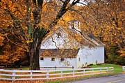 Scenic Connecticut Posters - Aspetuck Barn - Autumn in Connecticut Poster by Thomas Schoeller