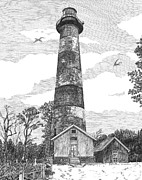 Lighthouse Drawings - Assateague Island Lighthouse by Stephany Elsworth