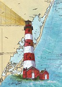 East Coast Lighthouse Paintings - Assateague Island Lighthouse VA Chart Map Art Cathy Peek by Cathy Peek