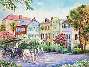 Cobblestone Painting Prints - Assault and Battery on Rainbow Row Print by Alice Grimsley
