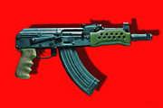 Police Art Digital Art - Assault Rifle Pop Art - 20130120 - v1 by Wingsdomain Art and Photography