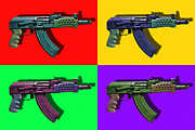 Ak Prints - Assault Rifle Pop Art Four - 20130120 Print by Wingsdomain Art and Photography