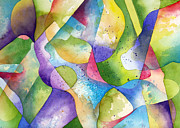 Watercolor Print Posters - Assessment geometric Abstract watercolor Poster by Cherilynn Wood