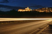 Car Pyrography Prints - Assisi by night Print by Luca Roveda