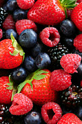 Organic Photo Prints - Assorted fresh berries Print by Elena Elisseeva