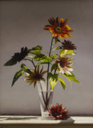 Realistic Paintings - Assorted Sunflowers by Larry Preston