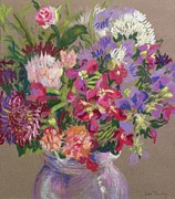 Flowers In White Vase Prints - Asters Print by Joan Thewsey