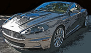 Sheats Framed Prints - Aston Martin DB S Coupe 3/4 Front View Framed Print by Samuel Sheats