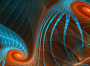 Blue And Orange Abstract Art Prints - Astonished-Fractal Art Print by Lourry Legarde