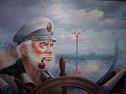Ebay Framed Prints - ASTOUNDING SEA CAPTAIN ORIGINAL or Map Captain 1987 Framed Print by Yoo Choong Yeul