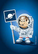 Humor Framed Prints - Astronaut Cartoon Man Framed Print by Frank Ramspott