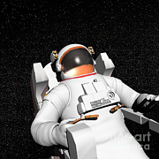 Astronauts Digital Art Posters - Astronaut Floating Alone In The Dark Poster by Elena Duvernay