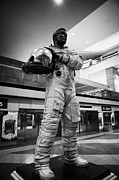 Air Travel Framed Prints - astronaut john swigert statue at Denver Airport Colorado USA Framed Print by Joe Fox