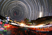 Star Valley Prints - Astronomers Observe Polar Star Trails Print by Amin Jamshidi