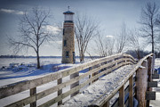 Snow Trees Posters - Asylum Point Lighthouse Poster by Joan Carroll